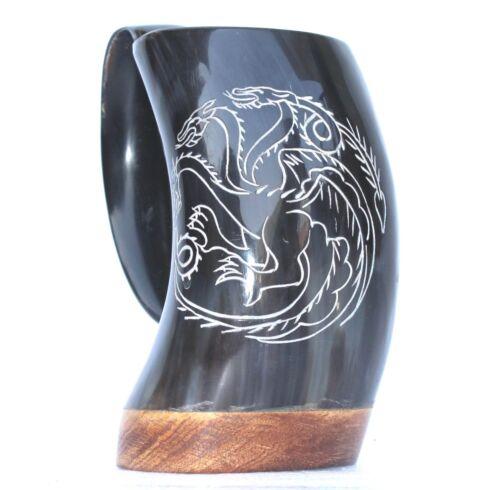 Game of thrones Targaryen House carved Viking drinking horn Ale Beer Tankard