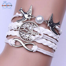 women New white bracelet wristband cuff multilayer pearl pigeon infinity tree