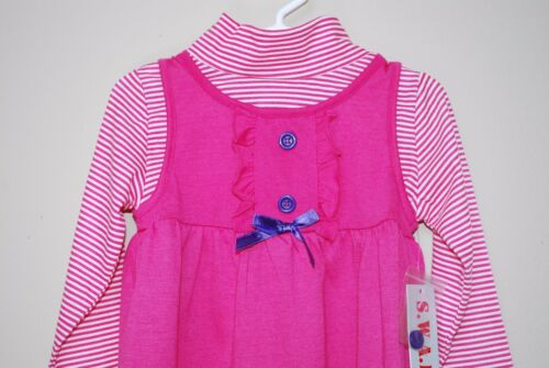 GIRLS SIZE 3T 4T PINK BUTTERFLY BLOSSOM LAYERED DRESS LONG SLEEVE NEW S.W.A.K