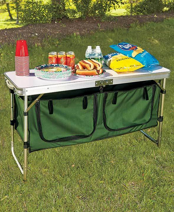 PORTABLE CAMPING KITCHEN TABLE`WITH TWO LARGE ZIPPERED STORAGE  ORGANIZER SECTION  great offers