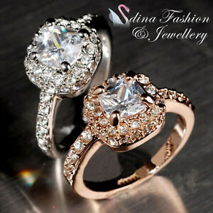 3fe87e124 Details about 18K Gold Plated Made With Swarovski Crystal Cushion Cut  Engagement Wedding Ring
