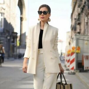 Zara Woman Blanco Doble Abotonadura Blazer Abotonado Pantalones Traje Conjunto Talla Xxl Ebay