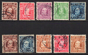 New-Zealand-10-Stamps-c1909-16-Used-6476