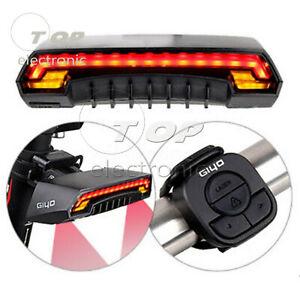Velo-arriere-DEL-Queue-Lumiere-USB-Sans-Fil-Telecommande-tourner-signaux-Laser