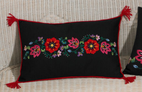 Permin 832961 Coussin Flowers on Black Kit Broderie traditionnelle