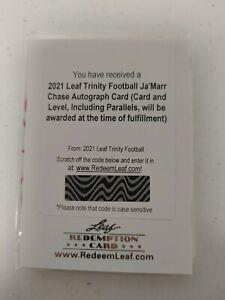 2021 LEAF TRINITY Football JA'MARR CHASE  Auto XRC Rookie #D Autograph