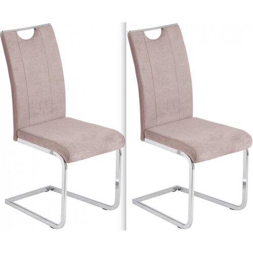 2er Stuhl Schwingstuhl Küchenstuhl Esszimmerstuhl Stoff JENNY Flamingo braun