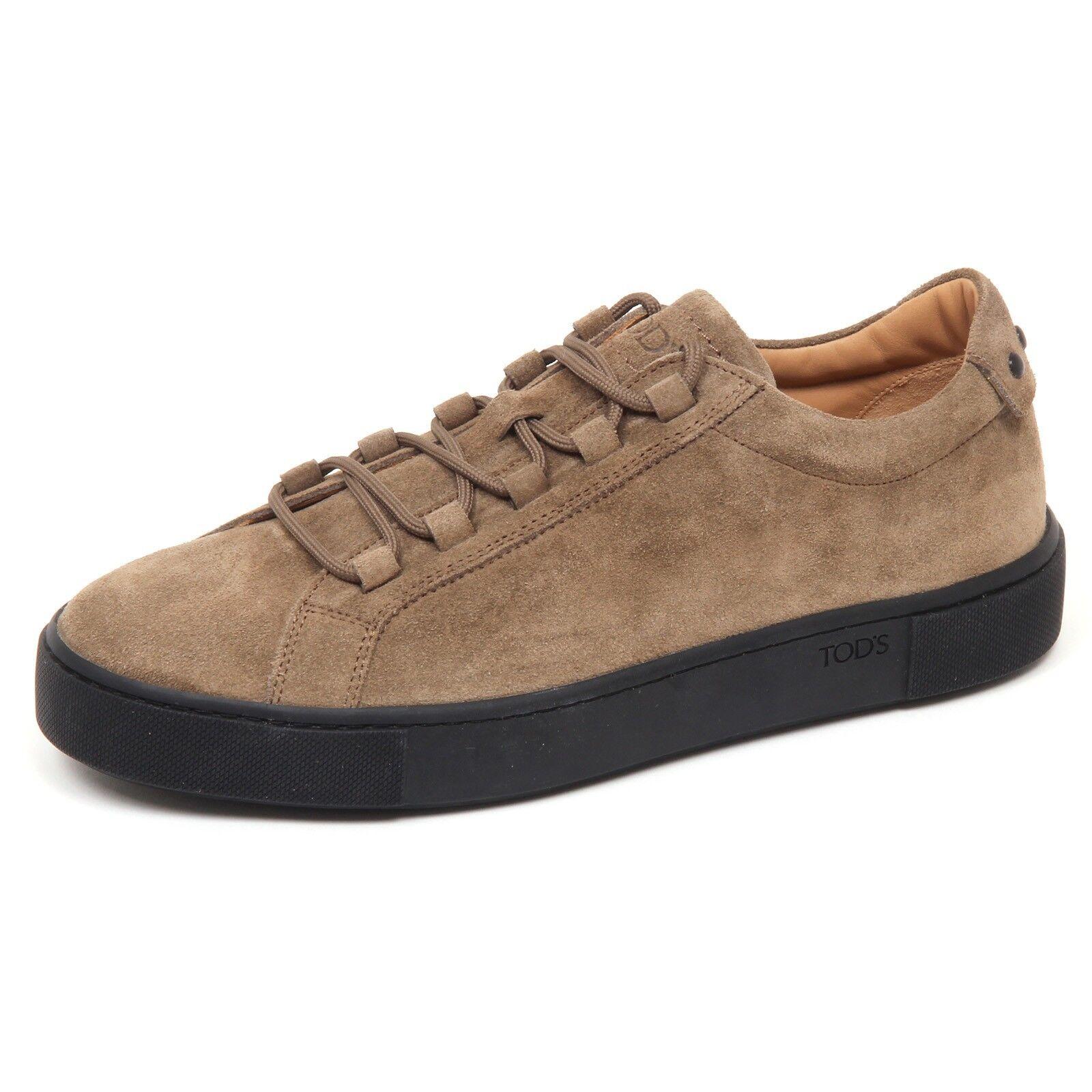 E7870 zapatilla de deporte hombres Luz Marrón TOD'S CASSETTA zapatos Zapato De Gamuza Hombre