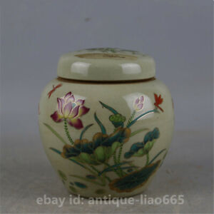 "4.3"" Chinese Famille-rose Porcelain Lotus Flower Leaf Pot Tea Canister Caddy清风荷韵"