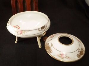 Antique Morimura Nippon Hair Receiver Vanity Box Porcelain Moriage Pink Roses Gold Dots