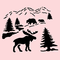 Moose Stencil Northwoods Bear Pines Mountains Trees Template By Stensorce