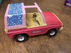 TONKA-Barbie-FORD-BRONCO-toy-truck-Jeep-metal-pink-flowers
