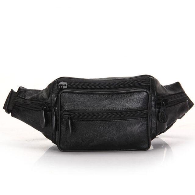 Black Leather Fanny Pack Men Waist Belt Bag Women CarryOn Purse Hip Pouch  Travel