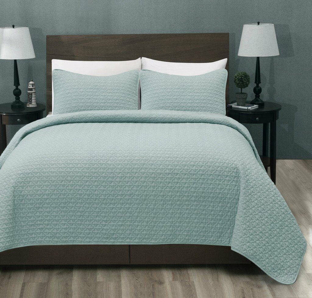 100% Polyester Micro 3PC Aqua Green Bed Quilt Coverlet Bedspread Set-2 Sizes