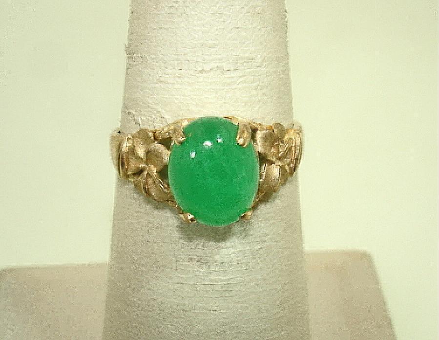 SOLID 14K YELLOW gold HAWAIIAN PLUMERIA OVAL GREEN JADE JADEITE RING 7.75 H