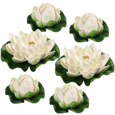 Familyhouse 8pcs Artificial Floating Foam Lotus Flowers Realistic Water Lily for Home Garden Patio Pond Aquarium Pool Wedding Party Decor