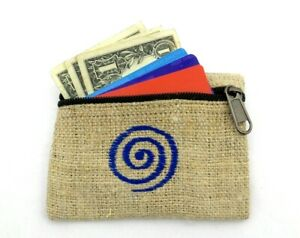 Hemp-Coin-Purse-Blue-Spiral-Bag-Pouch-Credit-Card-ID-Holder-Vegan-Wallet