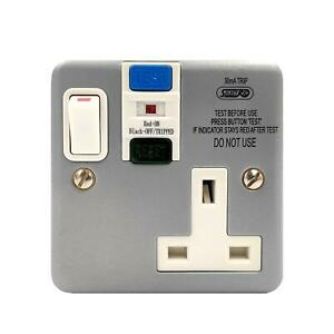 TIMEGUARD TFP04ML METAL CLAD 1 GANG SINGLE PASSIVE RCD SOCKET 13A 30MA SWITCHED