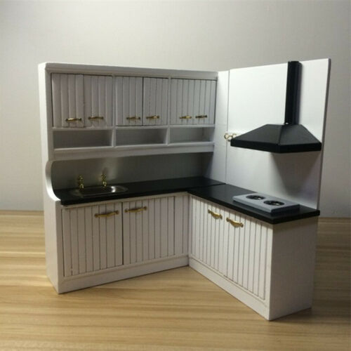 1//12 White Wood Kitchen Cupboard Cabinet Dollhouse Miniature Room Furniture