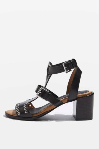 Topshop VIENNA Eyelet Mid Wedge Heel Leather Sandals Black Nude Size 3-8 RRP £52