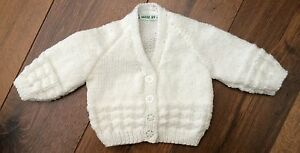 New-Hand-Knitted-Baby-Cardigan-In-White-Colour-0-3-Months