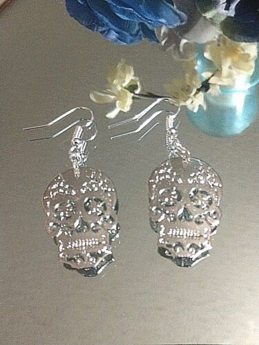 Sugar Skull  Fashion Dangle Earrings Sterling Ear Wires FREE SHIPPING ON $35+