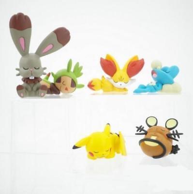 6pcs//Set Pokemon Sleep Pikachu Fennekin Dedenne Chespin Froakie PVC Figure XY01