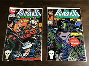 The-Punisher-33-34-Man-MacHine-Round-2-w-Reavers-Marvel-Comics-June-1990-VF-NM