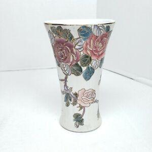 "Vintage Toyo Ceramic Oval Vase Roses Flowers Gold Gilt Trim  Chinoiserie 6 5/8"""