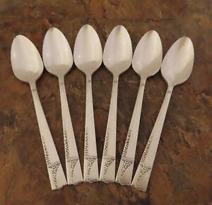 Oneida-Caprice-6-Teeloeffel-Loeffel-Adel-Vintage-Silverplate-Bestecke-LOT-N