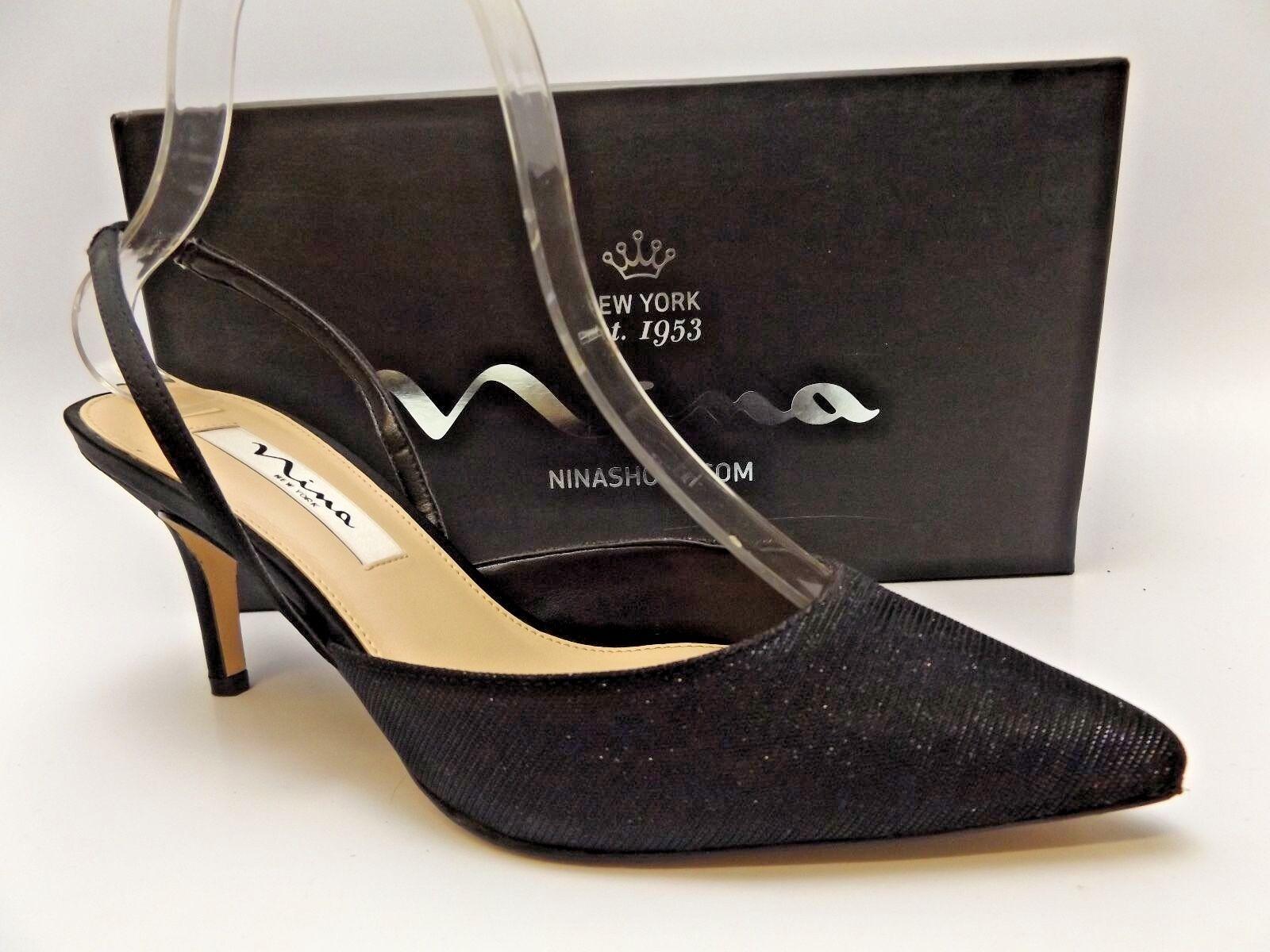 Nina Terri Slingback BLACK LUNA 7.0 SHIN Dress Pumps, SZ 7.0 LUNA M D4021 f15bba