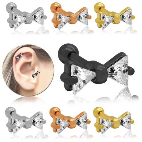 Bow Ribbon Piercing Crystal Helix Tragus Plugs Cartilage Ear Glitter Women Steel