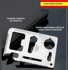 TARJETA DE SUPERVIVENCIA CAZA PESCA CAMPING COCHE CARTERA ACERO NAVAJA