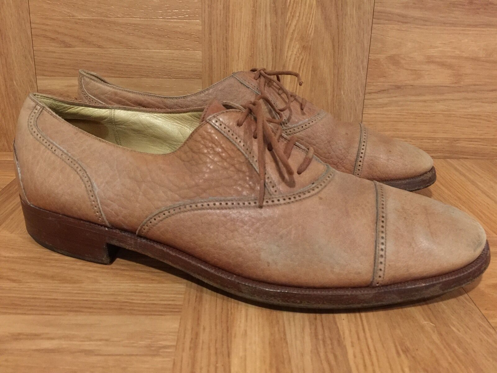 RARE  MCM Oxfords Dress shoes Tanned Leather Handmade  Mens 8 Vintage