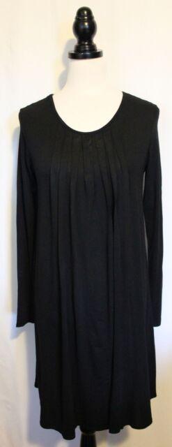 MELA PURDIE SELECT ~ Black A-Shape Stretch Viscose Long Sleeve Shift Dress 10