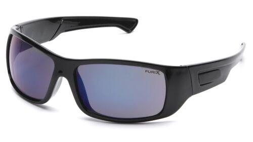 Pyramex Safety Glasses Furix Blue Mirror Anti-Fog Lens with Black Frame SB8575DT