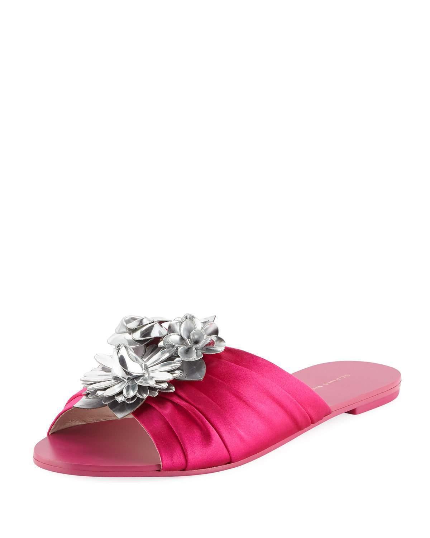 Sophia Webster Lilico Glitter Ruched Satin Slide Sandals Mult Sizes  350