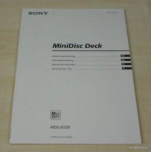 Sony MDS-JE530 Bedienungsanleitung (mehrsprachig, auch in Deutsch)