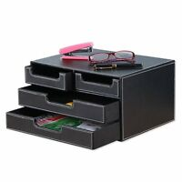 Smonet Multi-functional 4 Small Drawers Pu Leather Desk Organizer File Cabinet