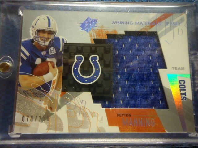 2003 SPX PEYTON MANNING INDY COLTS LARGE JERSEY CARD WITH COLTS HORSE SHOE /250