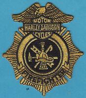 Harley Davidson Fire Firefighter Patch Gold / Black