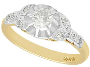 0.35 ct Diamond and 18 ct Yellow Gold Solitaire Ring Antique Circa 1920