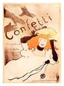 A3 Wall POSTER Print Vintage Retro Confetti Toulouse Lautrec Art Nouveau #1