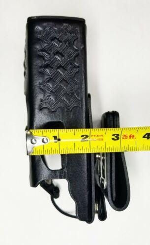 CASEGUYS 2 E.F JOHNSON 5100 Leather Radio Holder Holster Basket Weave Police