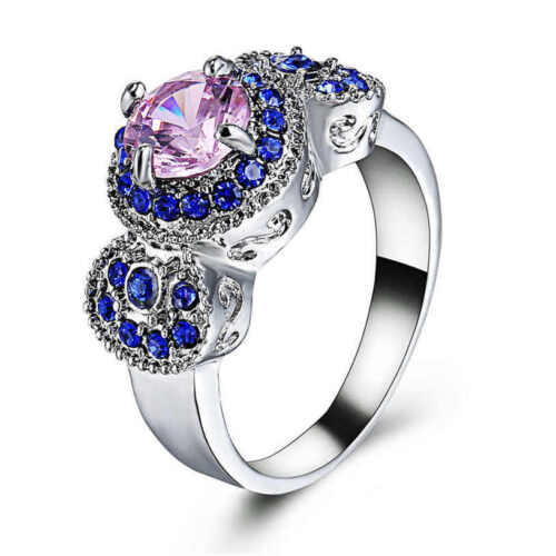 Pink Sapphire Gemstone 18Kt White Gold Filled Wedding Ring For Women Size 8