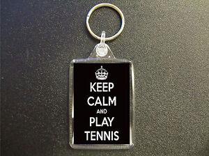 KEEP CALM AND PLAY TENNIS KEYRING BAG TAG BIRTHDAY GIFT