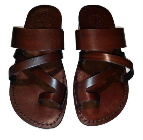 Cuir Véritable Jésus Marron Sandales Biblique Gladiator Flat Shoes Us Tailles 5-12