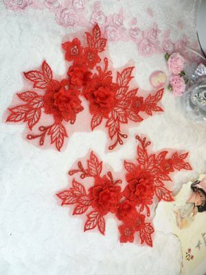 """DIY Sew on Motif DH92 Embroidered 3D Appliques Gold Floral Lace Mirror Pair 8/"""""""