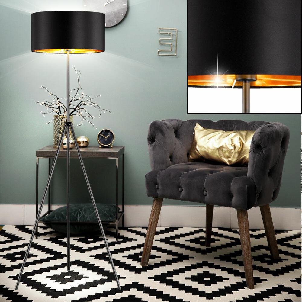 Luxus Decken Fluter schwarz Arbeits Zimmer Steh Lampe Textil Lese Strahler Gold