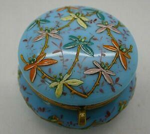 French-Blue-Opaline-Art-Glass-Enamel-Hand-Painted-Dragonfly-Ormolu-Box-RARE